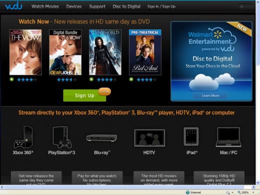 Vudu.com Homepage