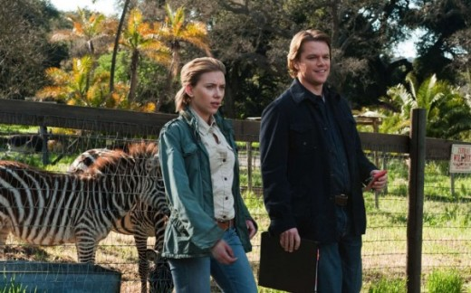 "Scarlett Johansson and Matt Damon star in the family friendly drama ""We Bought a Zoo""."