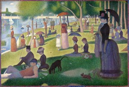 'A Sunday Afternoon on the Island of La Grande Jatte' by Georges Seurat - the inspiration at the heart of this musical.  The painting is held in The Art Institute of Chicago's Helen Birch Memorial Collection