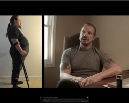 Arthur Boorman left side: Before picture from video below of a disabled vet that lost 100 pounds in 6 months and 140 pounds in 10 months. His yoga teacher on the right.
