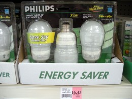 CFL's marked at $16.43 per 3-pack! For a supposed 75-watt equivalency.