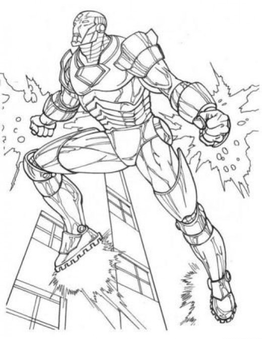 Avengers iron man colouring pages