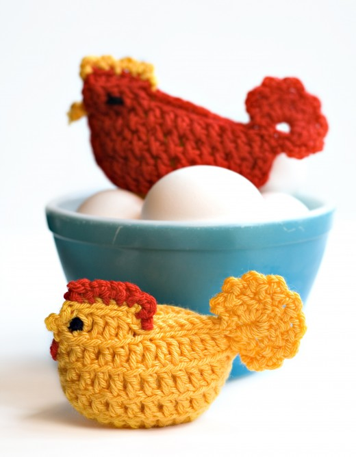 WHICH CAME FIRST by Dkapp12  Crocheted chicken cozies sitting on eggs - shallow depth of field