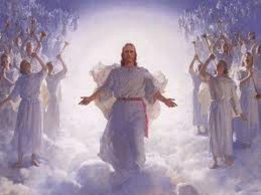 After making payment for the world's debt of sin Christ ascended on high to continue His reign is Heaven, worshiped by the angels.