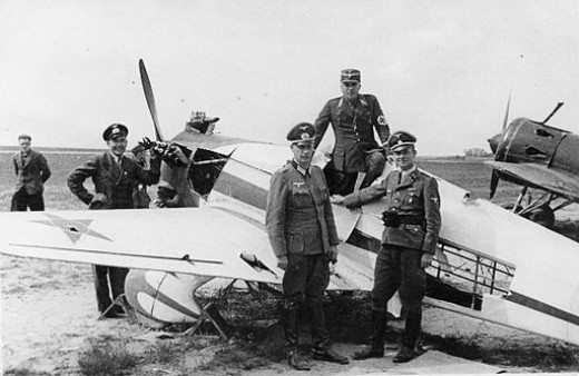 Germans inspecting Russian planes. The plane in the front is Yakovlev UT-1 and the one in the back is Polikarpov I-16