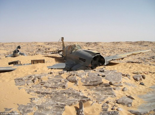 An American-built Curtiss Kittyhawk, discovered in the Sahara desert of Egypt after its young British pilot disappeared in 1942.