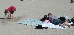 Lazing on the beach all day can make for a fun, relaxing Mother's Day activity.
