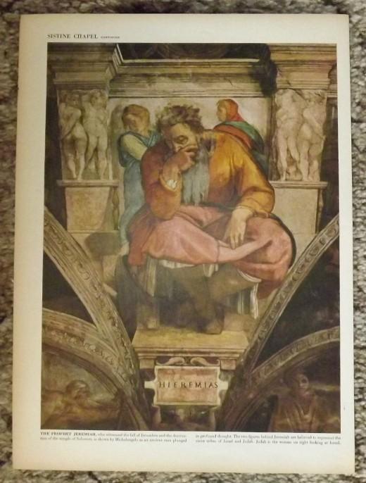 "1946 Vintage Print--Michelangelo's ""Jeremiah the Prophet"" in the Sistine Chapel"