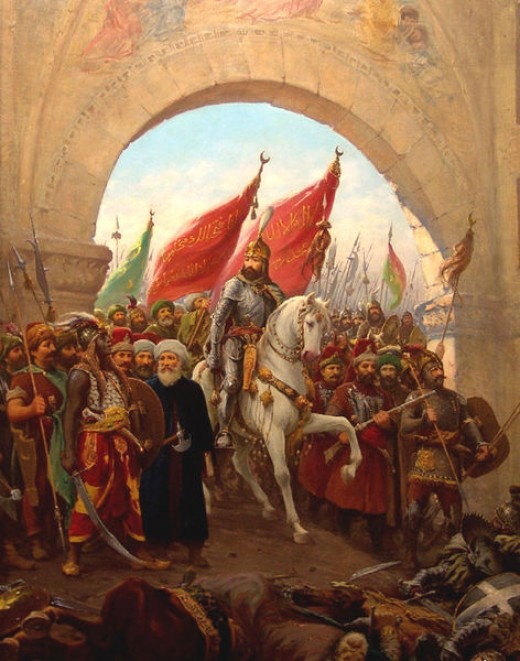 Sultan Mehmed II entering Constantinople on the 29th May 1453. Among the 4000 dead was the last Byzantine or Roman Emperor, Constantine XI.