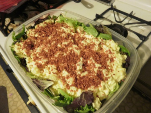 I was in a hurry, so I bought premade Amish potato salad, Dumped it in a lettuce bed and sprinklked bacon bits across the top. It was a hit.