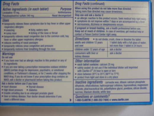 Back label of over-the-counter medication
