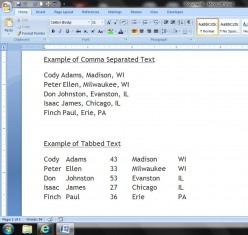 Examples of Tabbed and Comma-separated texts