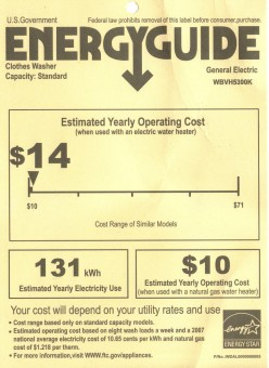 Energy Guides show you potential savings with energy efficient appliances