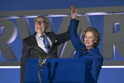 "Streep and Broadbent celebrate in ""The Iron Lady."""