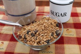 Organic granola with raisins and sunflower seeds