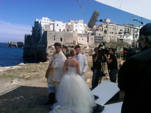 Filming of scenes in Italy:  Hope and Liam Marry