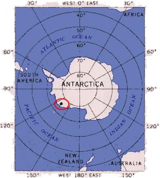 Antarctica, showing the location of Byrd Station and the Erven Nunataks.