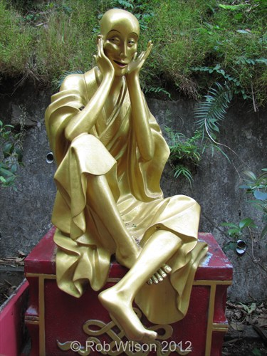 A statue at the Monastery of the 10,000 Buddha's that reminds me of The Scream.