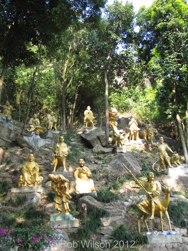 A group of statues at the Monastery of the 10,000 Buddhas in Sha Tin, Hong Kong.