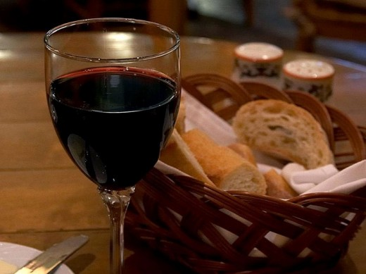 Red wine served in an Italian Restaurant