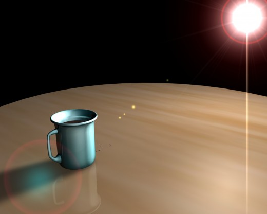 A simple model of a mug on a table. I find my self creating a lot of simple scenes just to get to know how to use the cinema 4d.