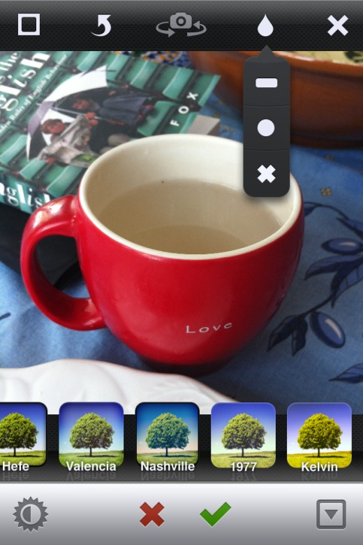 After you take your photo, you can apply any of 18 filters (bottom) or blur effects (top).