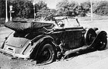 Heydrich's Mercedes after the attempt on his life
