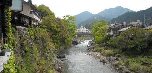 View of the Nagara River in downtown Gujo City, Gifu.