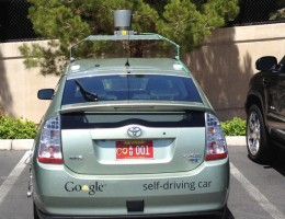 There is a warning on the back informing other drivers that this car is a driverless car.