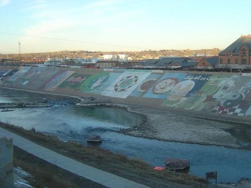 Pueblo World Record Levee Mural on the Arkansas River.