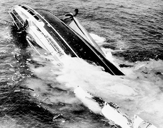 Andrea Doria plunges beneath the waves.