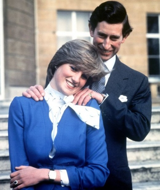 The late Princess Diana with Prince Charles. On her finger is the same ring that Prince William gave to Kate Middleton when he proposed to her.