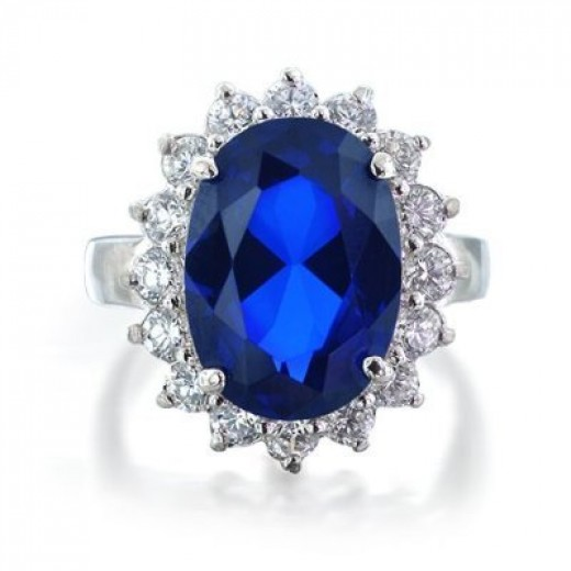 Bling Jewelry Sterling Silver CZ Blue Sapphire Color Royal Engagement ring
