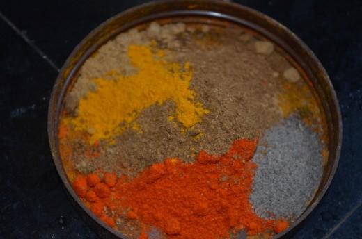 Masala - Chilly, pepper, turmeric, corainder powder