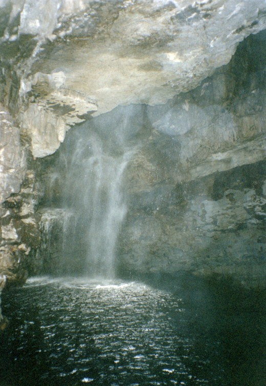 The freshwater falls inside Smoo Cave.