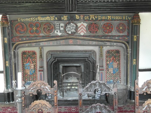Samlesbury Hall parlour fireplace, would almost certainly have been familiar to Jane Southworth, widow of the owner's son.