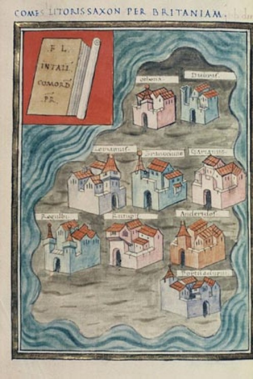 "An illustration of the nine Saxon Shore forts in Britannia, taken from a 16th century version of the ""Notitia Dignitatum."""