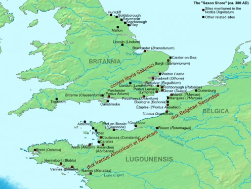 A map of the Saxon Shore forts as they stood in the late 3rd century.