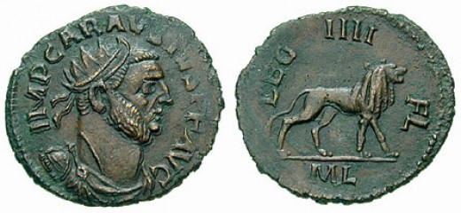 A coin minted during the Carausian occupation of Britain. (circa 288-290 A.D., Londinium)
