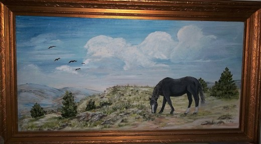 "A simple grazing scene.  ""Papa's' horse was black."