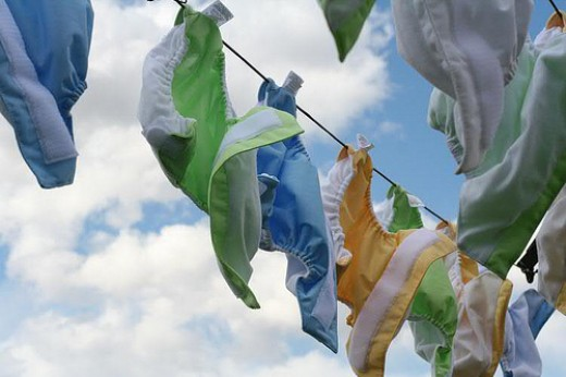 Going green with cloth diapers drying outside on the line!