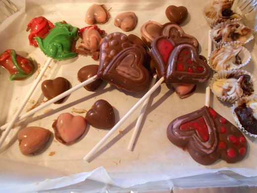 Truffles, painted lollipops and chocolate moulds