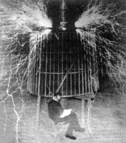 This now famous photo shows Tesla safe in an experiment of his own design, proving that handling huge voltages was safe provided you do it correctly. This act in some ways was to disprove what Edison claimed.