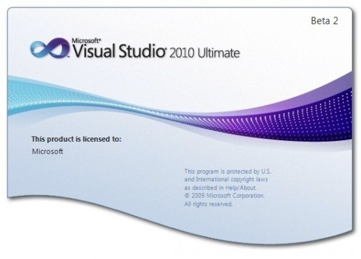 "An sample of ""splash-screen"". The splash-screen displayed is the one that shows while Visual Basic 2010 is being loaded."