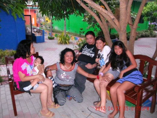 My son, his two daughters, my daughter and her baby in Poracay Resort