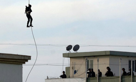 NSG commandoes jumping from helicopter on nariman house