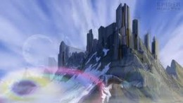 Asgard, the kingdom of the gods seen from Midgard, high, forbidding peaks and dark grey stone fastnesses