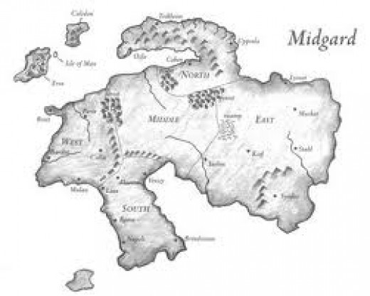 Midgard mapped, the land of man below Asgard - looks vaguely like Scandinavia at the top, Italy and Sicily at the bottom.
