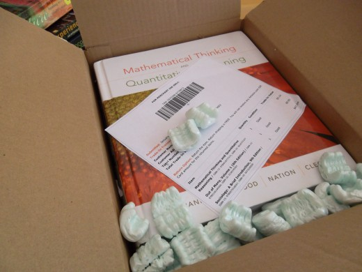 These textbooks are on their way to Amazon to be traded-in, in return for an Amazon gift card.