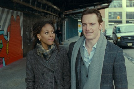 "Beharie and Fassbender take a walk in ""Shame."""